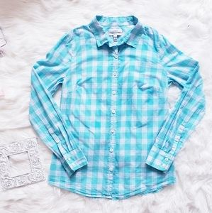 J Crew Long Sleeve Plaid Flannel Button Down Top